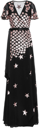Temperley London Starlet Sequined Georgette Wrap Gown