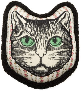 Gucci Embroidered-cat Floral-print Satin Cushion - Ivory Multi