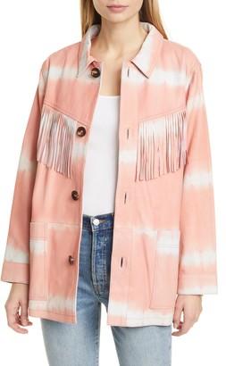 Sea Zelda Tie Dye Fringe Trim Leather Jacket