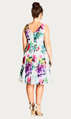 City Chic Succulent Sweetie Printed Fit & Flare Dress