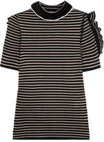Sonia Rykiel Cutout Ruffled Striped Metallic Cotton-blend Top - Black