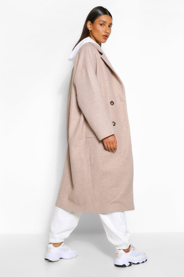 Thumbnail for your product : boohoo Double Breasted Longline Wool Look Coat
