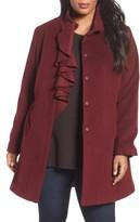 Tahari Plus Size Women's Kate Ruffle Wool Blend Coat