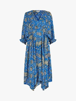 Monsoon Draped Paisley Dress, Blue