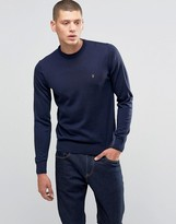 Farah Jumper In Merino Wool Slim Fit In Blue