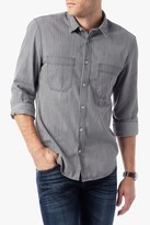 7 For All Mankind Long Sleeve Work Wear Shirt In Light Grey