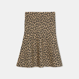 Theory Flounce Skirt in Leopard Knit