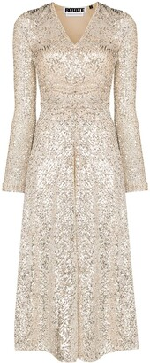 Rotate by Birger Christensen Sequin Embroidered Midi Dress