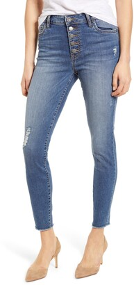 KUT from the Kloth Connie High Waist Distressed Fray Hem Ankle Skinny Jeans