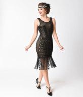 Unique Vintage 1920s Black & Nude Beaded Lattice Wharton Flapper Dress