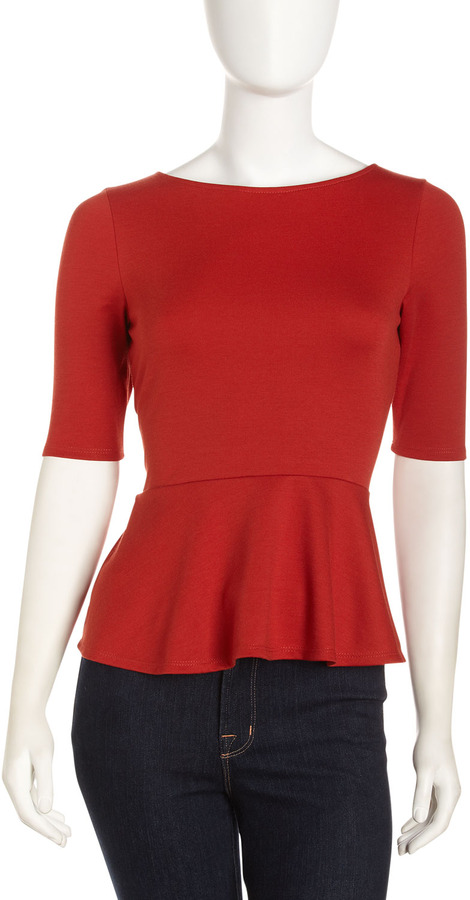 Casual Couture Half-Sleeve Peplum Top, Burnt Orange
