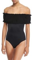 Norma Kamali Empire Jose Mio Off-the-Shoulder One-Piece Swimsuit