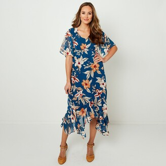 Joe Browns Floral Print Midi Dress with Asymmetric Hem and Short Sleeves