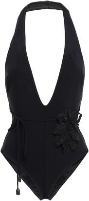 Zimmermann Belted Floral-appliqued Halterneck Scuba Swimsuit