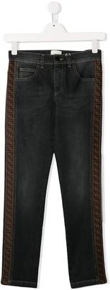 Fendi Kids TEEN FF logo stripe jeans