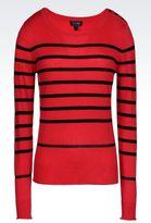 Armani Jeans Sweater In Striped Viscose Blend