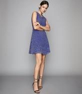 Reiss NELLY SPOT PRINTED MINI DRESS Blue