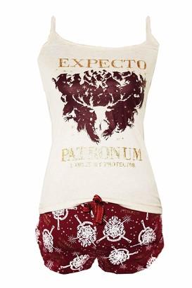 License Harry Potter 'Expecto Patronum' Ladies Pyjamas (Burgundy/Gold 10-12)