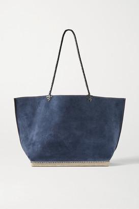 Altuzarra Espadrille Large Leather And Jute-trimmed Suede Tote - Storm blue