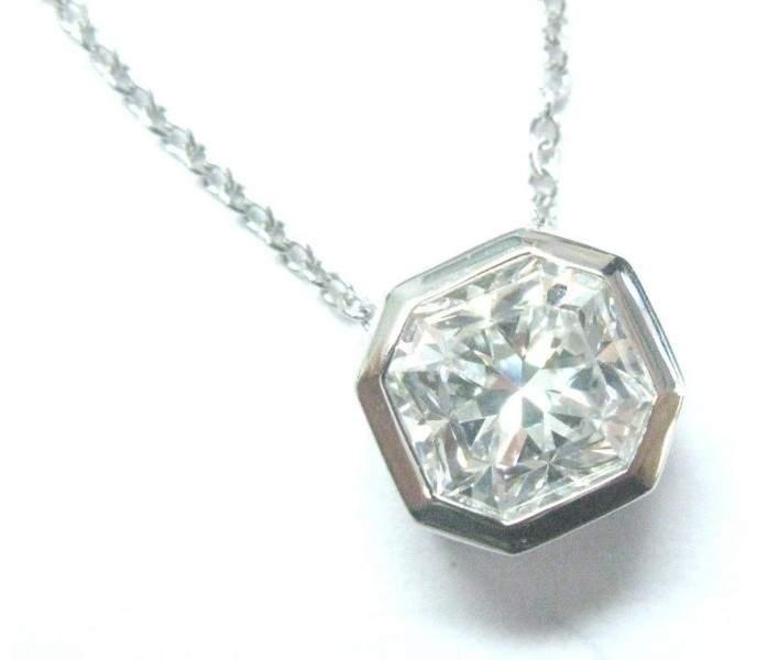 Tiffany & Co. Platinum Lucida Diamond Bezel Set Pendant Necklace