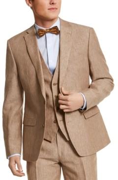Bar III Men's Slim-Fit Tan Pinstripe Linen Suit Separate Jacket, Created for Macy's