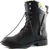 DailyShoes Womens Military Lace Up Buckle Combat Boots Zipper Sweater Ankle High Exclusive Credit Card Pocket