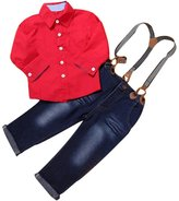 Balakie Kids Boys Handsome Shirt + Braces Jeans Trousers Gentleman Suit