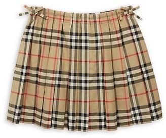 Burberry Little Girl's & Girl's Pearly Pleated Tartan A-Line Skirt
