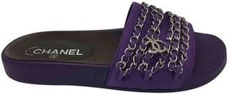 Chanel Purple Cloth Sandals