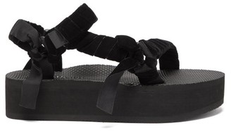 Arizona Love Trekky Velvet-strap Platform Sandals - Black