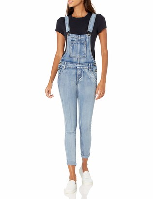 Cover Girl Women's Denim Overalls Bib Strap Button Skinny Fit