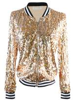 Anna-Kaci Womens Black Silver Sequin Fitted Rib Long Sleeve Zipper Blazer Jacket