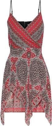 Bailey 44 Bandana Wrap-effect Layered Printed Georgette Mini Dress