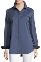 Lafayette 148 New York Long-Sleeve Button-Front Cherrywood Striped Shirt