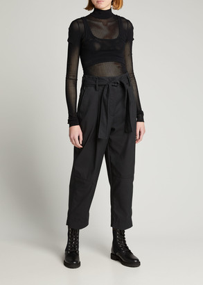 Fendi Mesh Long-Sleeve Bodysuit w/ Removable Bra