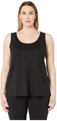 Eileen Fisher Plus Size Organic Linen Jersey U-Neck Long Tank Top (Black) Women's Sleeveless
