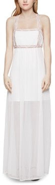 BCBGeneration Embroidered Chiffon Maxi Dress