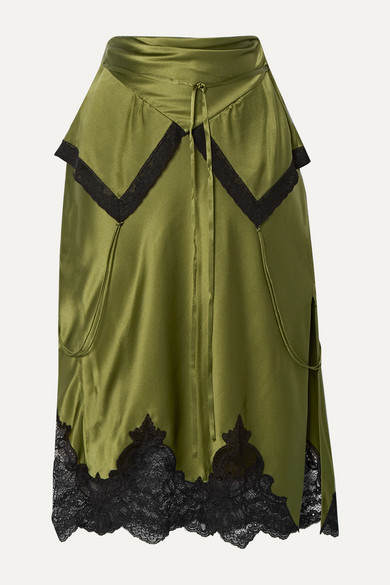 Alexander Wang Layered Lace-trimmed Silk-charmeuse Skirt - Army green