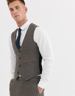 ASOS DESIGN wedding skinny suit suit vest in wool mix herringbone in brown