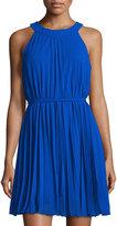 Chetta B Halter-Neck Pleated Shift Dress