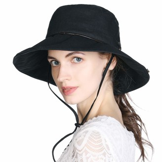 Comhats Summer Sun Hats for Women Foldable SPF 50 Cotton Bucket Hat for Fishing Wide Brim Holiday Beach Hat Adjustable Siggi Black L XL 58-61cm