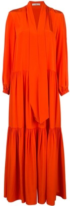 Tibi ruffle dress with tie neck