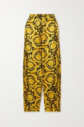 Versace Printed Silk Pajama Pants - Yellow