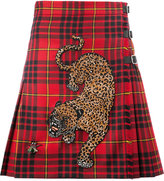 Gucci tiger embellished tartan kilt - women - Leather/Wool - 40
