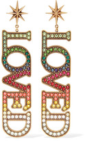 Gucci Loved Burnished Gold-tone Crystal Earrings - one size