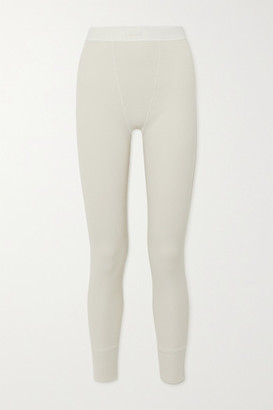 SKIMS Cotton Collection Thermal Ribbed Stretch-cotton Leggings - White
