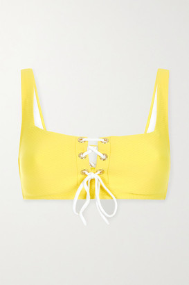 Heidi Klein Cancun Lace-up Seersucker Underwired Bikini Top - Yellow