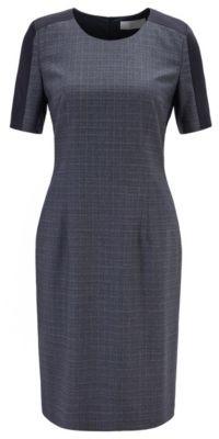 HUGO BOSS Two Tone Shift Dress In Virgin Wool With Contrast Insert - Patterned