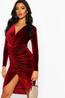 boohoo Cowl Neck Velvet Draped Midi Dress