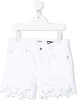 Dondup Kids Lace Hem Shorts